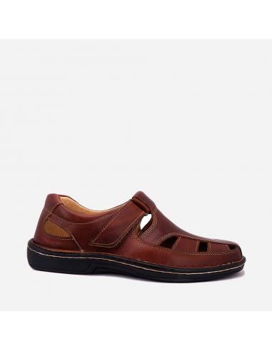 Sandalia Hombre Piel Casual Velcro 1426