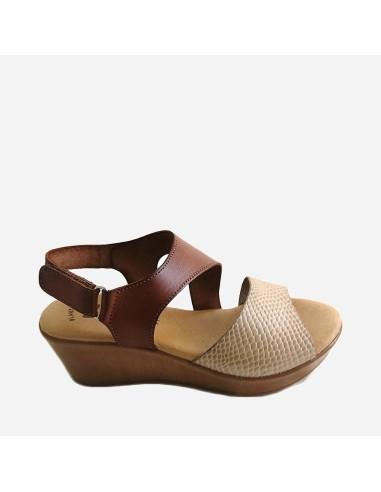 Sandalia Piel Mujer Cuña Velcro...