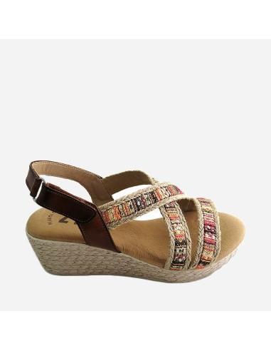 Sandalia Mujer Piel Cuña Velcro...