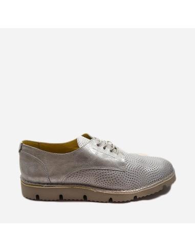 Zapato Mujer Piel Casual Con Cordones...