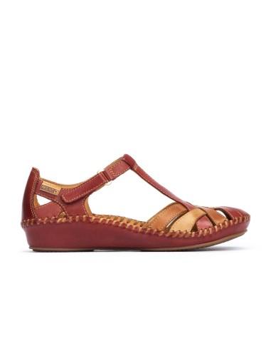 Sandalia Mujer Piel Con Velcro...